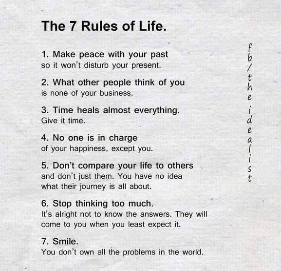 7 Rules Of Life Quote: Inspirational Positive Quotes :The 7 Rules Of Life
