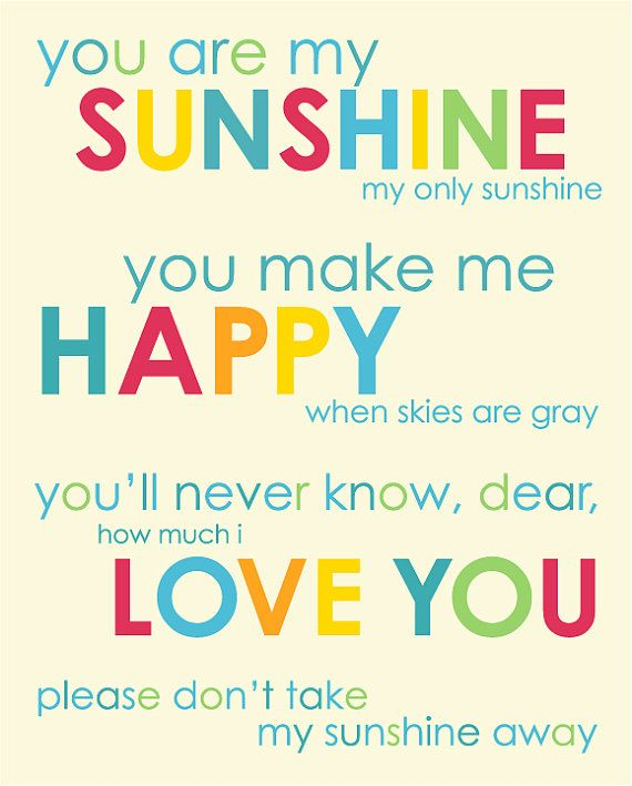 You Are My Sunshine Inspirational Quotesong 11x14 By Karimachal